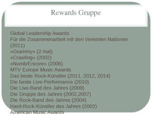 Rewards Gruppe Global Leadership Awards Für die Zusammenarbeit mit den Verein