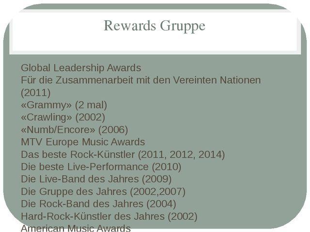 Rewards Gruppe Global Leadership Awards Für die Zusammenarbeit mit den Verein...