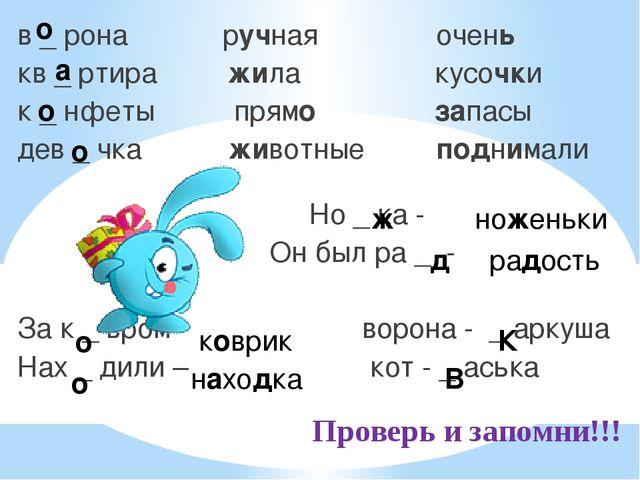Проверь и запомни!!! в _ рона ручная очень кв _ ртира жила кусочки к _ нфеты...