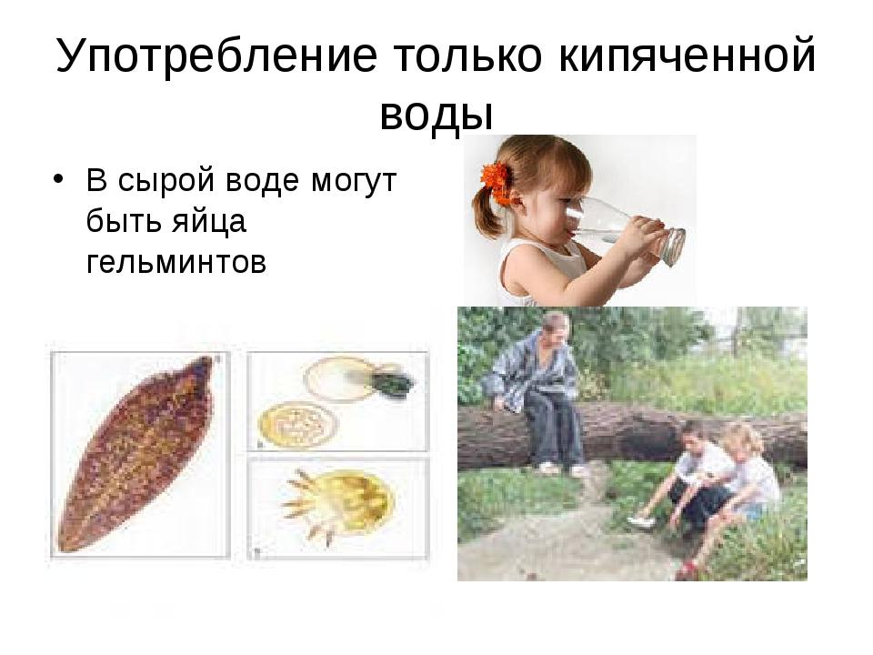 Употребление только кипяченной воды В сырой воде могут быть яйца гельминтов