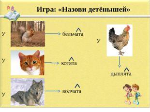 Игра: «Назови детёнышей» У У У бельчата котята волчата У цыплята