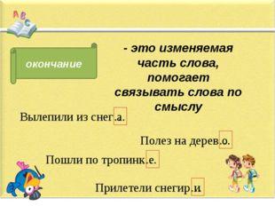 окончание - это изменяемая часть слова, помогает связывать слова по смыслу В