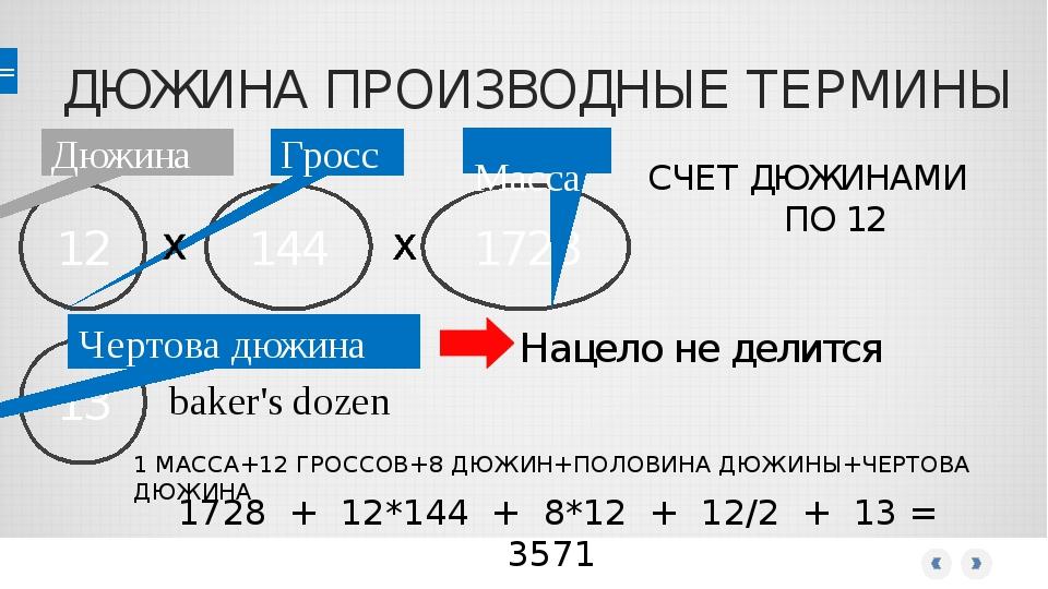 ДЮЖИНА ПРОИЗВОДНЫЕ ТЕРМИНЫ 12 Дюжина 144 Гросс 1728 Масса СЧЕТ ДЮЖИНАМИ ПО 12...