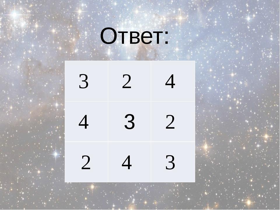 Ответ:          3 2 4 4 3 2 2 4 3