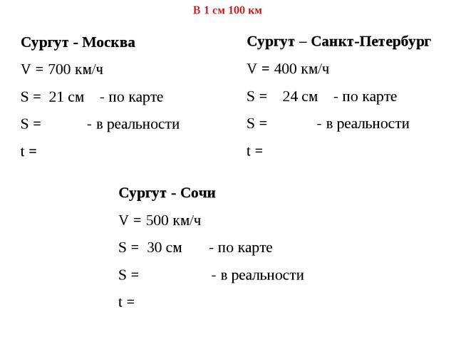 Сургут - Москва V = 700 км/ч S = 21 см - по карте S = - в реальности t = Сург...