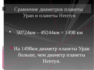 50724км – 49244км = 1498 км На 1498км диаметр планеты Уран больше, чем диаме