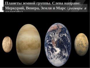 Планеты земной группы. Слева направо: Меркурий, Венера, Земля и Марс (размер