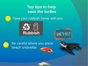 Top tips to help save the turtles Take your rubbish home with you Be careful