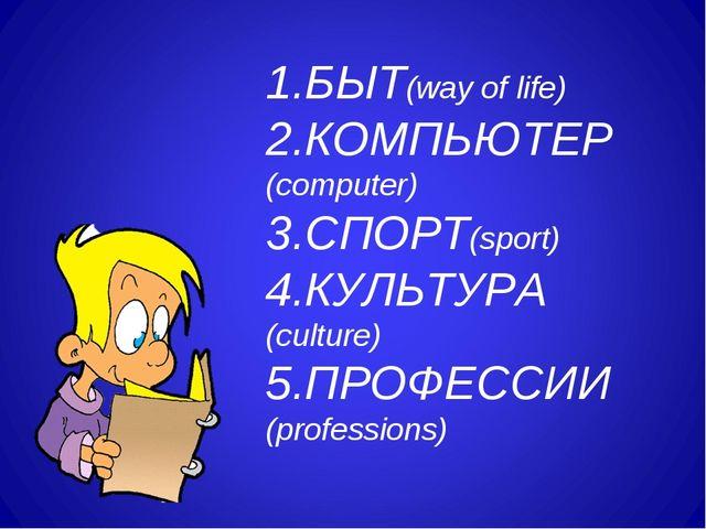 1.БЫТ(way of life) 2.КОМПЬЮТЕР(computer) 3.СПОРТ(sport) 4.КУЛЬТУРА (culture)...