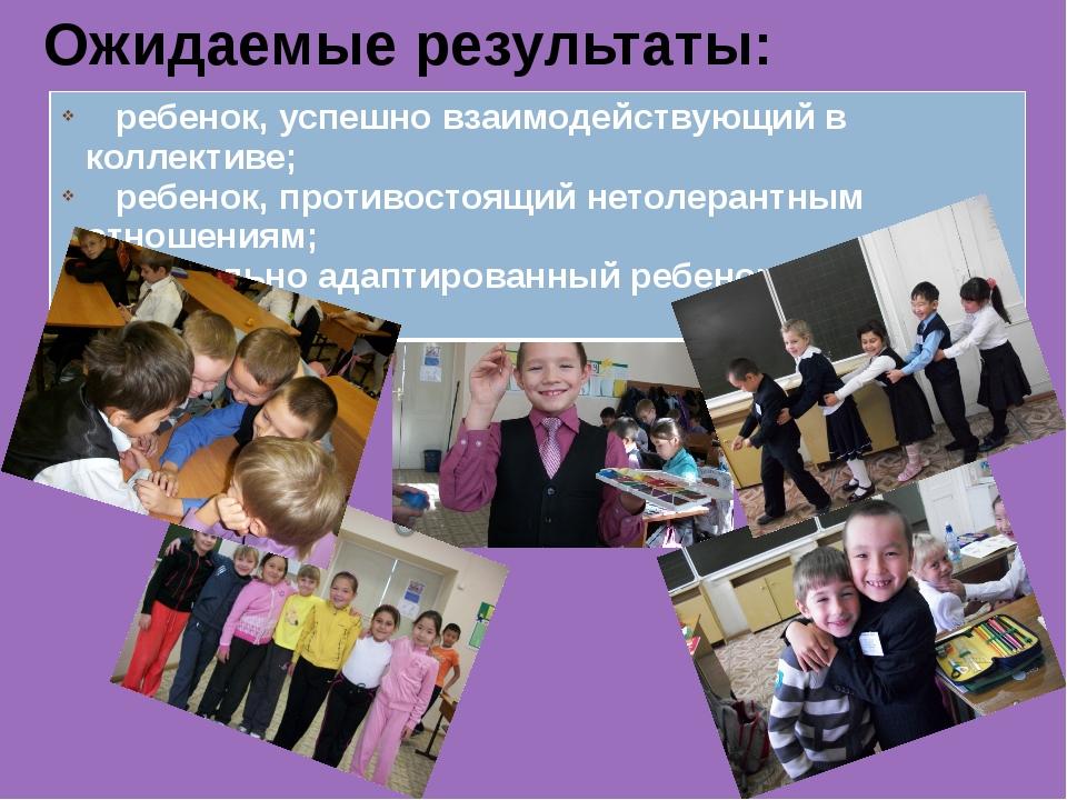 Ожидаемые результаты: ребенок, успешно взаимодействующий в коллективе; ребено...