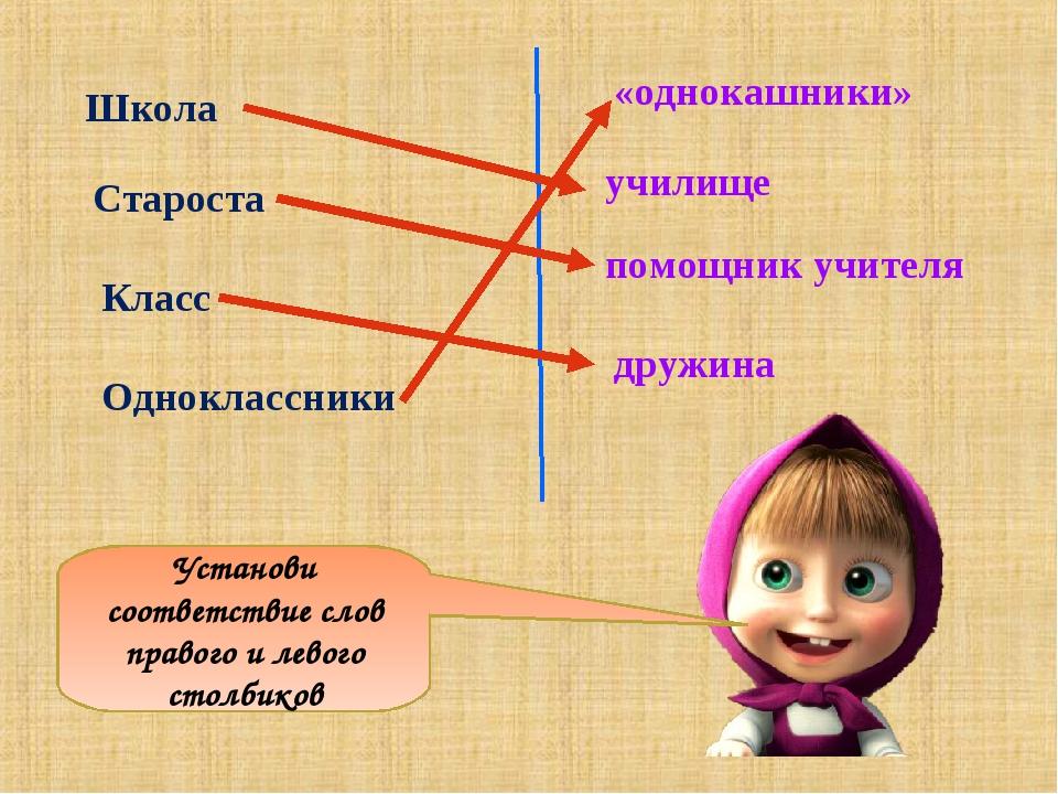 Установи соответствие слов правого и левого столбиков «однокашники» училище п...
