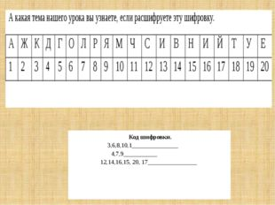 Код шифровки. 3,6,8,10,1_______________ 4,7,9___________ 12,14,16,15, 20, 17