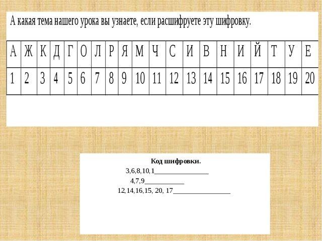 Код шифровки. 3,6,8,10,1_______________ 4,7,9___________ 12,14,16,15, 20, 17...