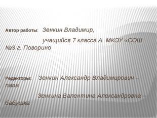 Автор работы: Зенкин Владимир, учащийся 7 класса А МКОУ «СОШ №3 г. Поворино Р