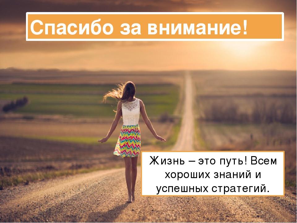 Спасибо за внимание! Жизнь – это путь! Всем хороших знаний и успешных стратег...