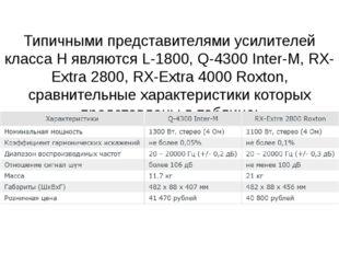 Типичными представителями усилителей класса H являются L-1800, Q-4300 Inter-M