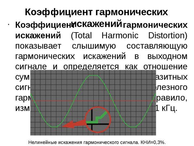 Коэффициент гармонических искажений Коэффициент гармонических искажений (Tota...