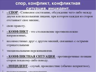спор, конфликт, конфликтная ситуация, инцидент. - СПОР - Словесное состязание