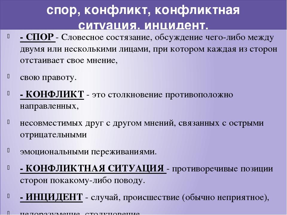 спор, конфликт, конфликтная ситуация, инцидент. - СПОР - Словесное состязание...