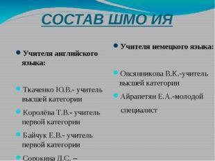 СОСТАВ ШМО ИЯ Учителя английского языка: Ткаченко Ю.В.- учитель высшей катего