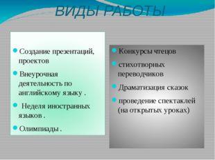 ВИДЫ РАБОТЫ Создание презентаций, проектов Внеурочная деятельность по английс