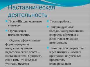Наставническая деятельность План «Школы молодого учителя» Организация наставн
