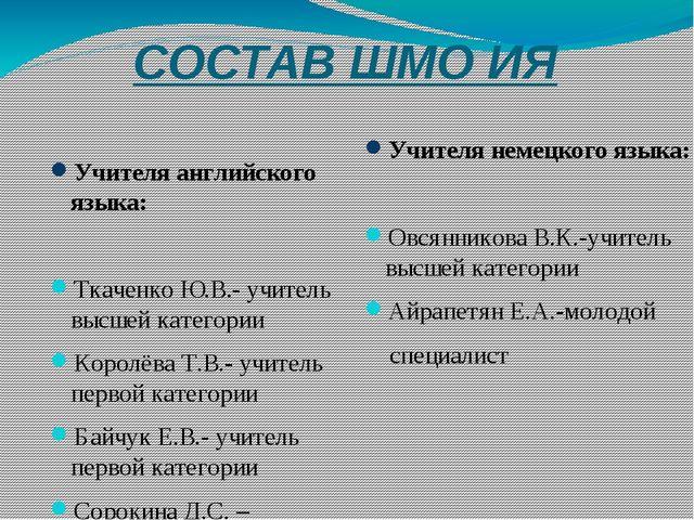 СОСТАВ ШМО ИЯ Учителя английского языка: Ткаченко Ю.В.- учитель высшей катего...