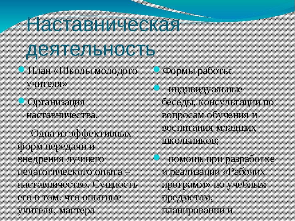 Наставническая деятельность План «Школы молодого учителя» Организация наставн...
