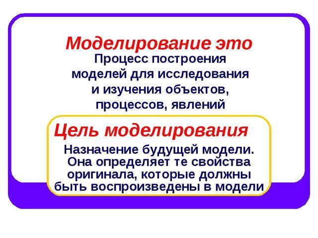 Моделирование это Процесс построения моделей для исследования и изучения объе...