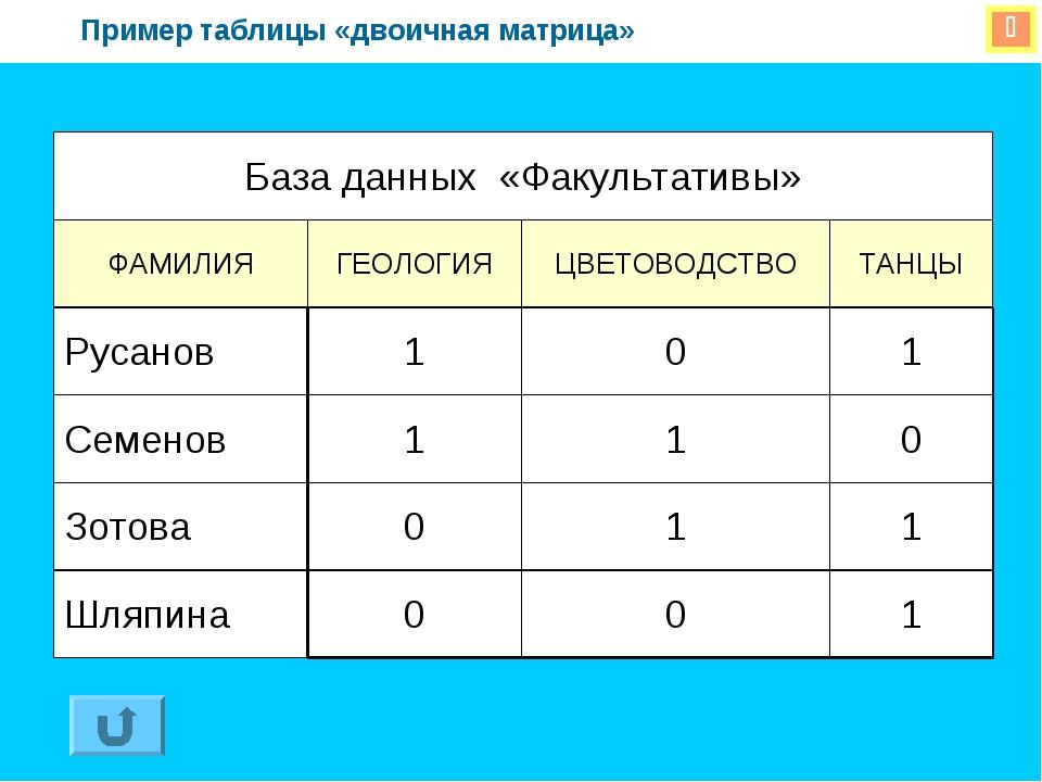  Пример таблицы «двоичная матрица» База данных «Факультативы» ФАМИЛИЯГЕОЛО...