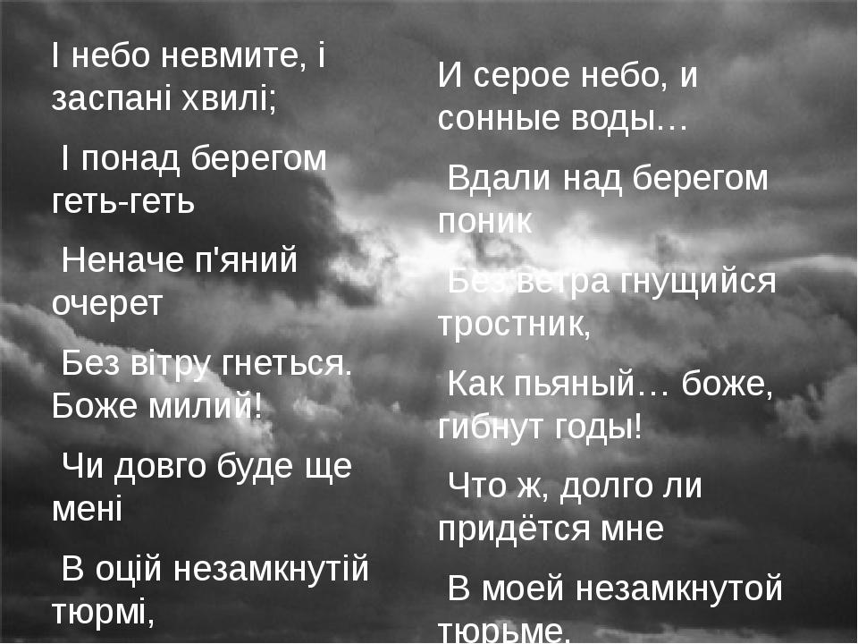 І небо невмите, і заспані хвилі; І понад берегом геть-геть Неначе п'яний очер...