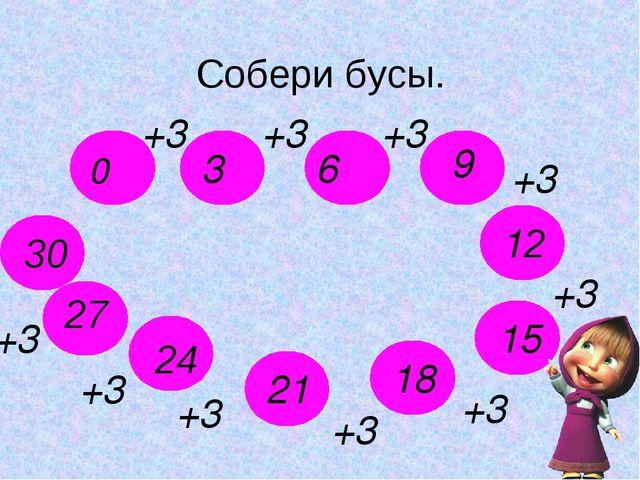 Собери бусы. 0 +3 +3 +3 +3 +3 +3 +3 +3 3 6 9 12 15 18 21 24 27 +3 30 +3