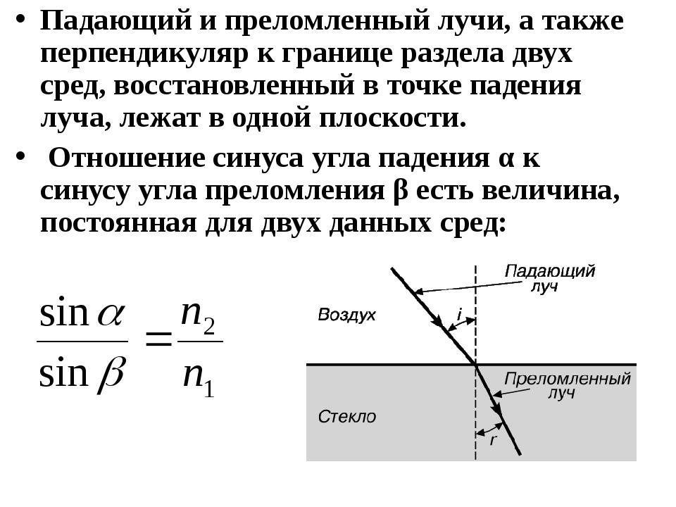 Падающий и преломленный лучи, а также перпендикуляр к границе раздела двух ср...