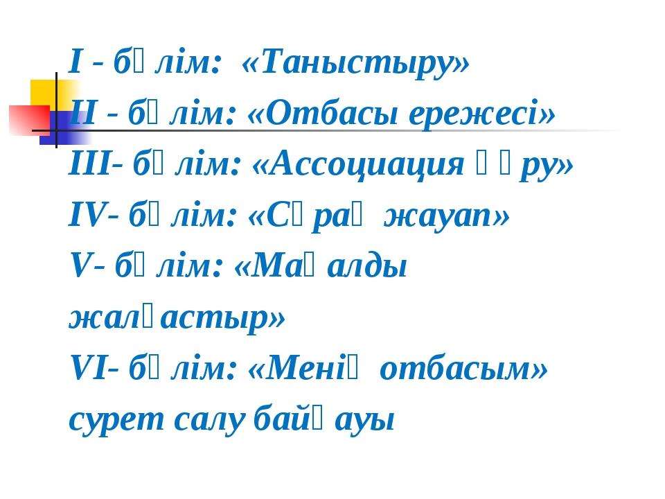 I - бөлім: «Таныстыру» II - бөлім: «Отбасы ережесі» III- бөлім: «Ассоциация қ...