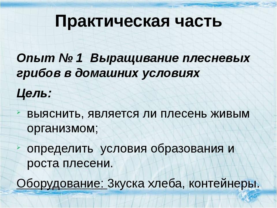 Практическая часть Опыт № 1Выращивание плесневых грибов в домашних условиях...