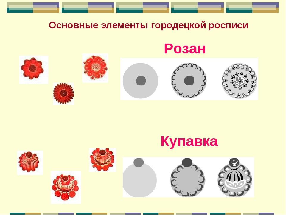 Розан Купавка Основные элементы городецкой росписи