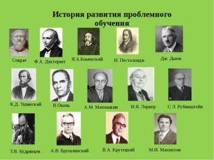 История развития проблемного обучения Дж. Дьюи С.Л. Рубинштейн Сократ И. Пест