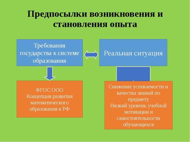Предпосылки возникновения и становления опыта Требования государства к систем...