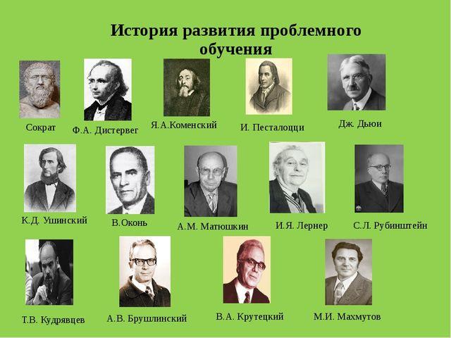 История развития проблемного обучения Дж. Дьюи С.Л. Рубинштейн Сократ И. Пест...