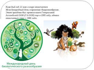 Каждый год 22 мая в мире отмечается Международный день сохранения биоразнообр