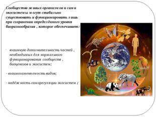 Сообщества живых организмов и сами экосистемы могут стабильно существовать и