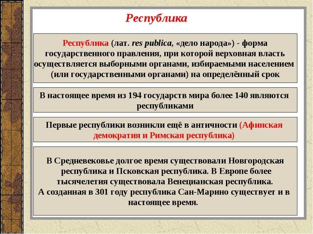 Республика Республика (лат.res publica, «дело народа»)- форма государственн...