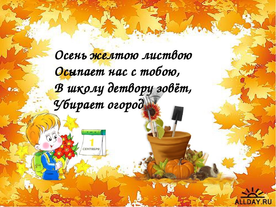 Осень желтою листвою Осыпает нас с тобою, В школу детвору зовёт, Убирает ого...