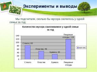 Эксперименты и выводы Мы подсчитали, сколько бы мусора скопилось у одной се