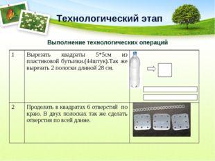 Технологический этап Выполнение технологических операций 1Вырезать квадраты