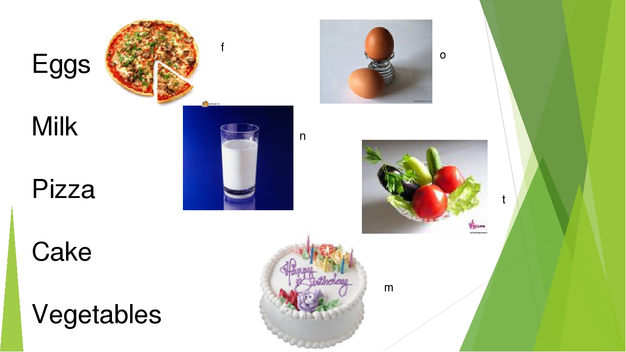 f n o m Eggs Milk Pizza Cake Vegetables t