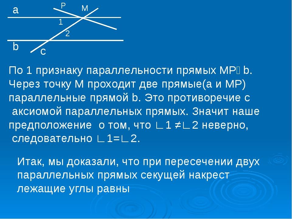 М а b с 1 2 Р По 1 признаку параллельности прямых МР‖b. Через точку М проходи...