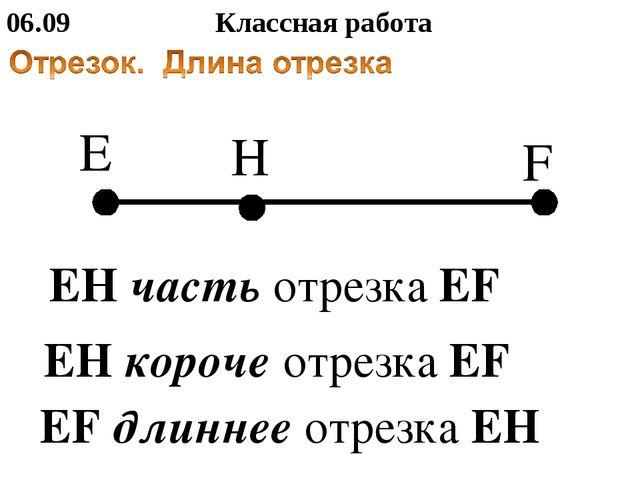 06.09 Классная работа H E F EH часть отрезка EF EH короче отрезка EF EF длинн...