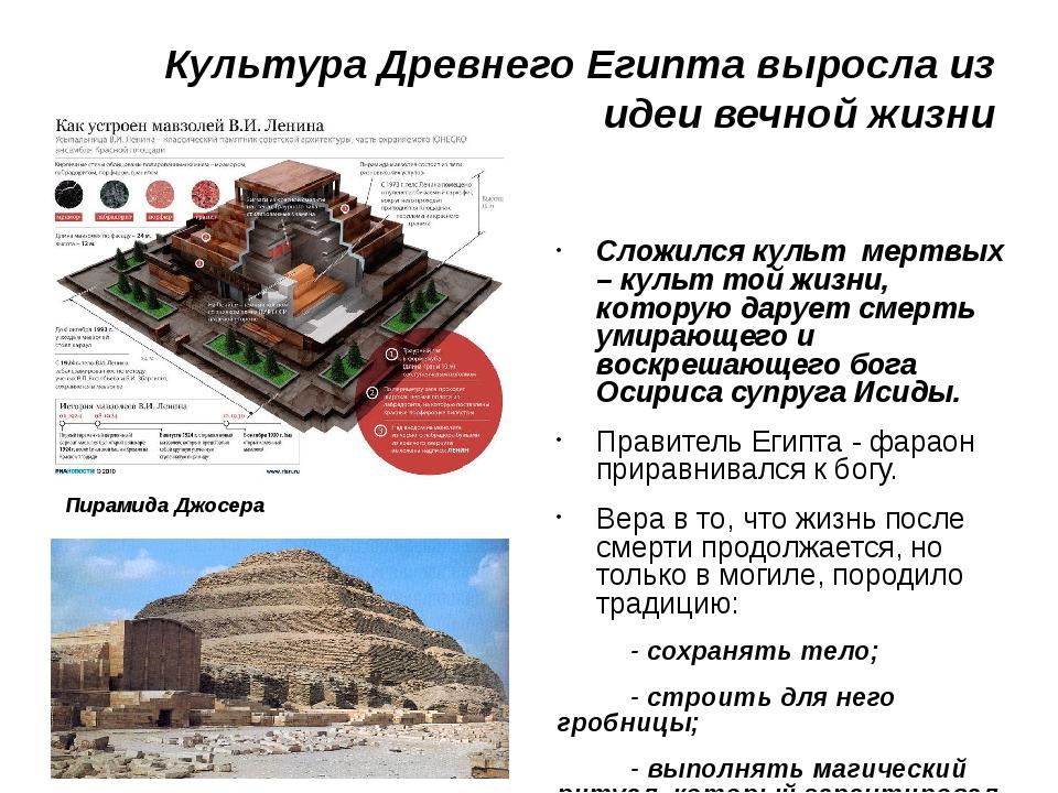 Культура Древнего Египта выросла из идеи вечной жизни Сложился культ мертвых...