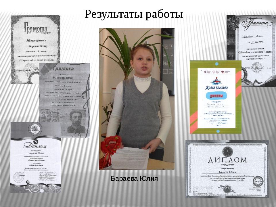 Бараева Юлия Результаты работы